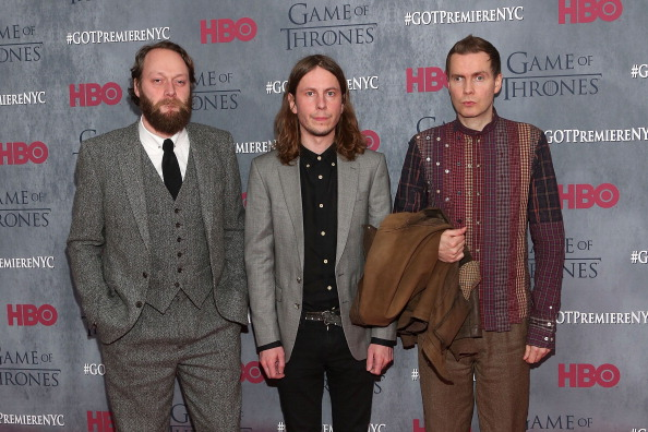 Georg Holm, Orri Pall Dyrason, and Jonsi of Sigur Ros attend the 'Game Of Thrones' Season 4 premiere at Avery Fisher Hall, Lincoln Center on March 18, 2014 in New York City