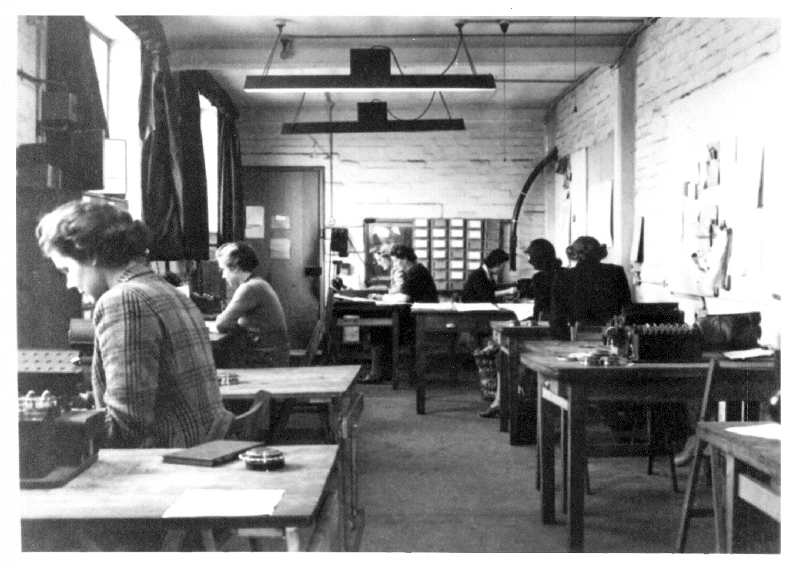 Women cryptanalysts at work in one of the huts at Bletchley Park