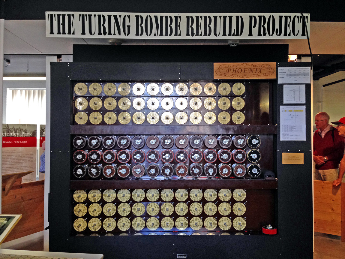 A working version of the Bombe on demonstration to visitors at Bletchley Park