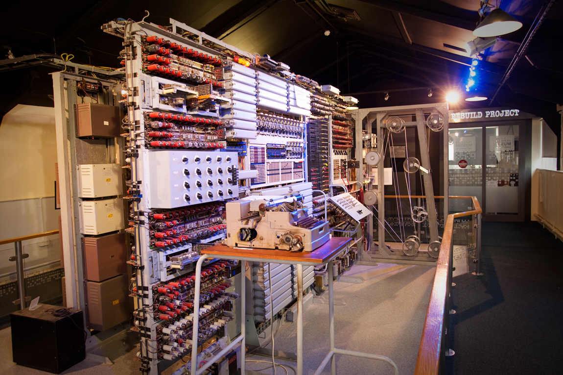 The Colossus, rebuilt and on show at the National Museum of Computing just up the hill from Bletchley Park