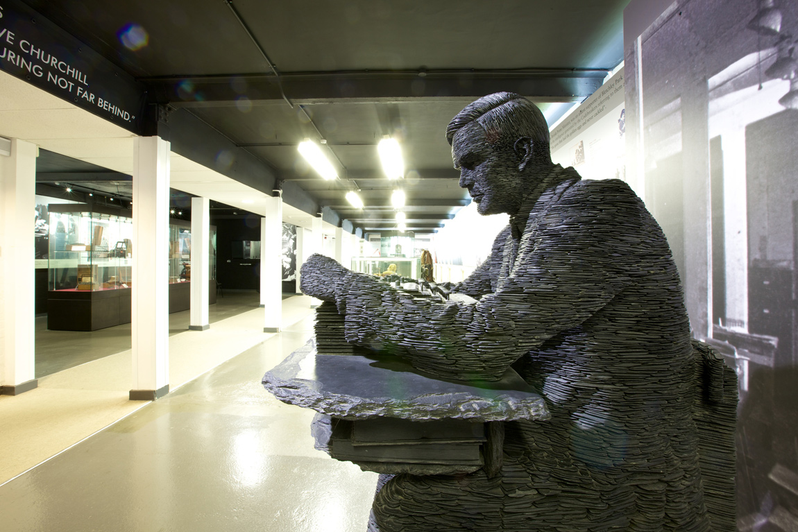 The granite statue of Alan Turing at Bletchley Park
