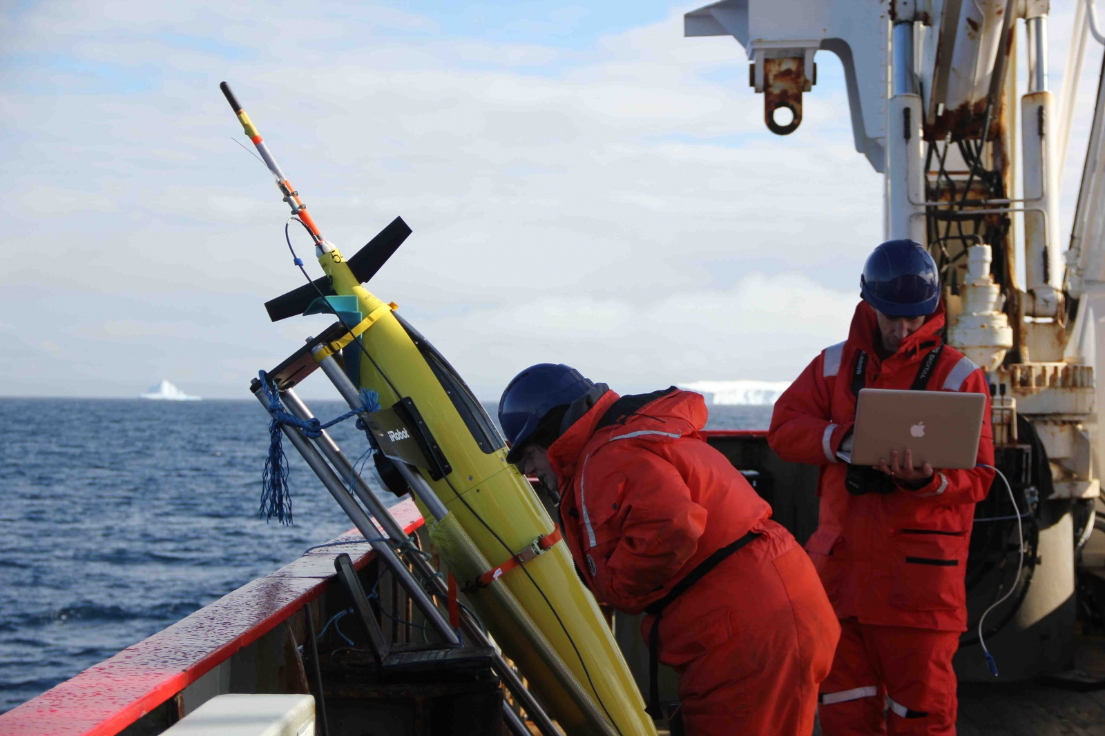 Oceanographers Liz Creed and Andy Thompson run through a series of tests in preparation for the release of a Seaglider into the Weddell Sea