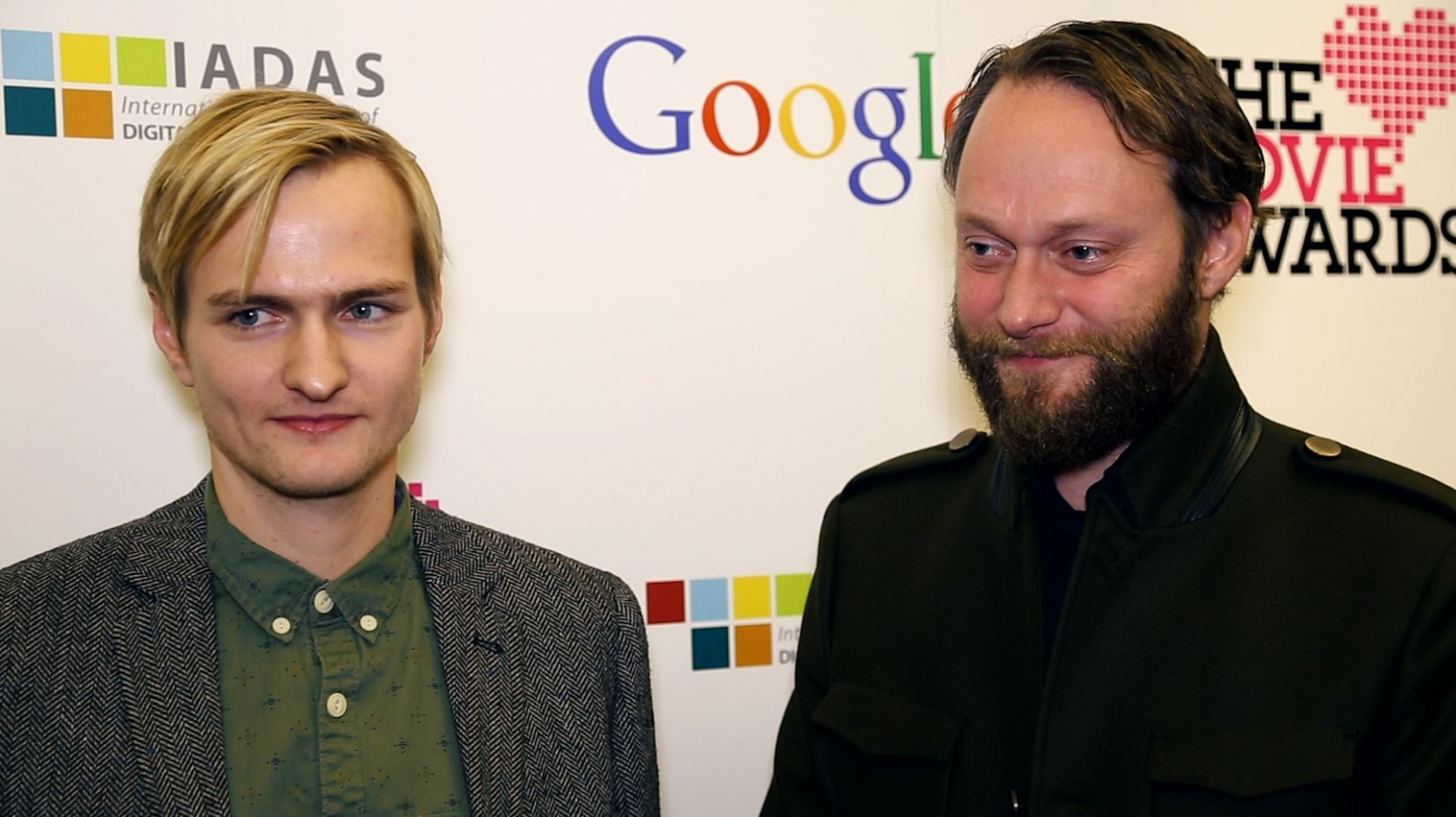 Sigur Ros' online manager Bjorn Floki (L) and bassist Georg Holm speak to IBTimes TV exclusively at the Lovie Awards 2014