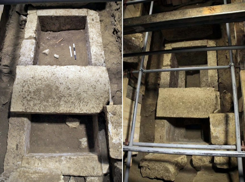 The excavated limestone grave set into the floor of the third chamber once held a wooden coffin decorated with bone and glass