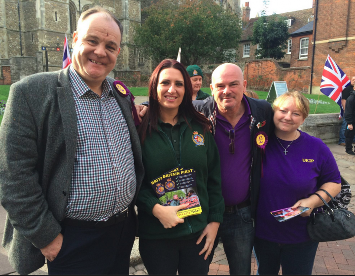 Britain First candidate Jayda Fransen (in green) contradicted Ukip claims about this controversial photo