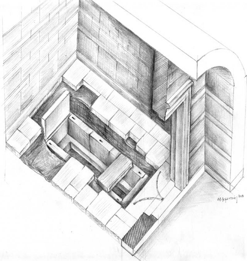 Artist's illustration of the limestone grave found beneath the floor in the third chamber