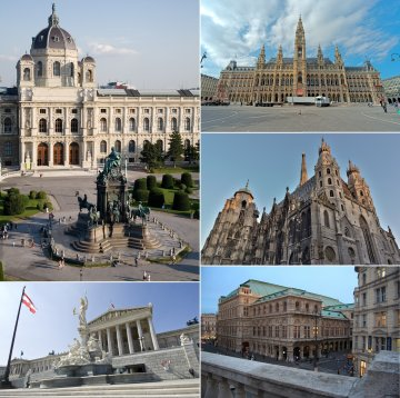 Locations in Vienna from top, left to right: Kunsthistorisches Museum, City Hall, St. Stephen's Cathedral, Vienna State Opera, and Austrian Parliament Building