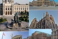 Locations in Vienna from top, left to right: Kunsthistorisches Museum, City Hall, St. Stephen\'s Cathedral, Vienna State Opera, and Austrian Parliament Building