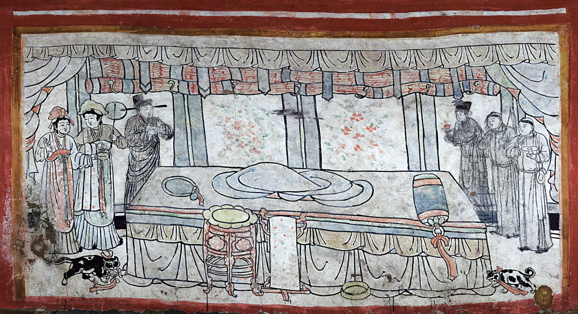 A bedroom scene depicted in a Chinese tomb from the Liao Dynasty period. It was traditional for the tomb occupant not to be featured.