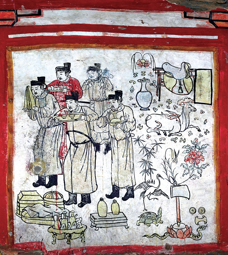 Another mural in the tomb depicts auspicious items and a poem with wise proverbs