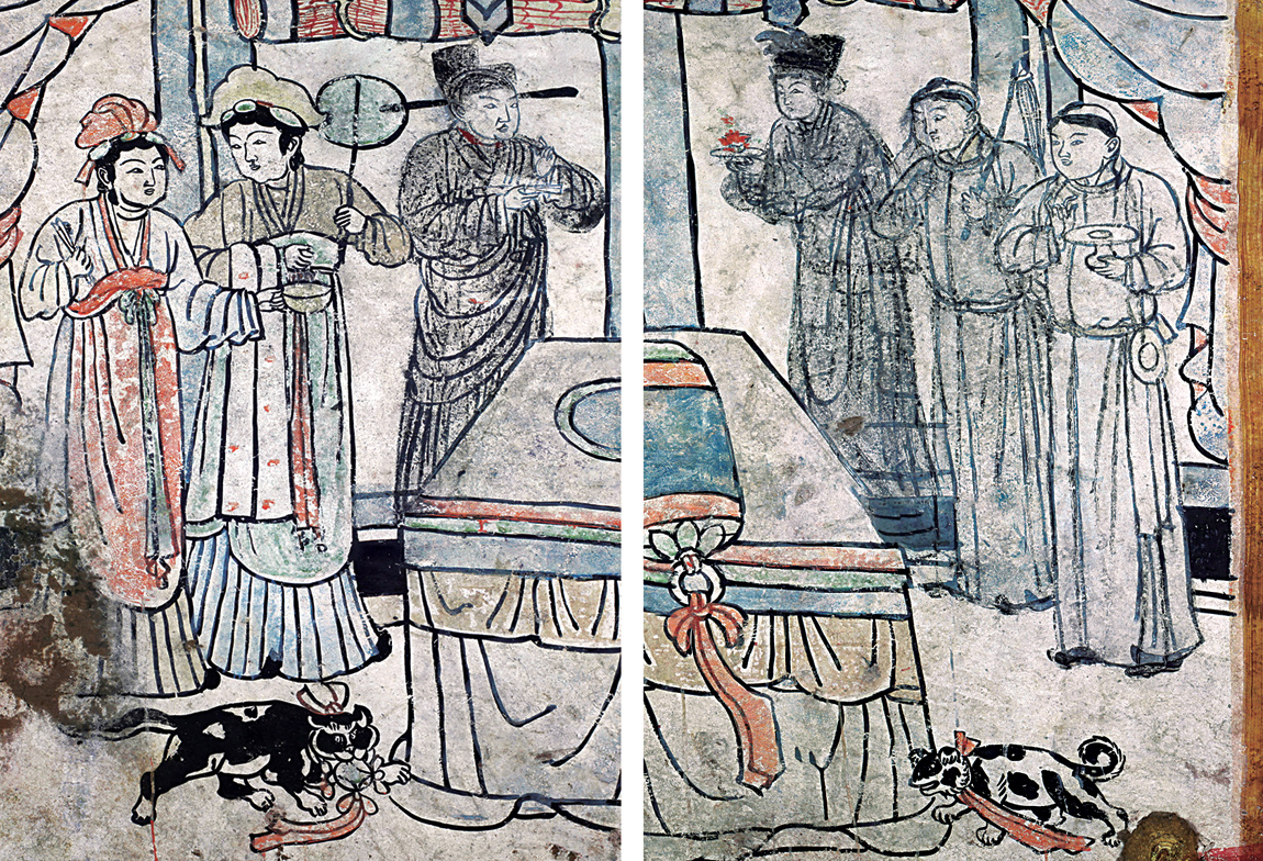 Close-up of the bedroom scene mural, which depicts Liao Dynasty servants in authentic traditional dress for the period