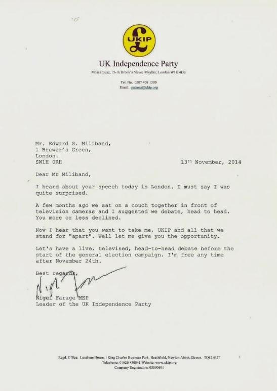 Farage's letter