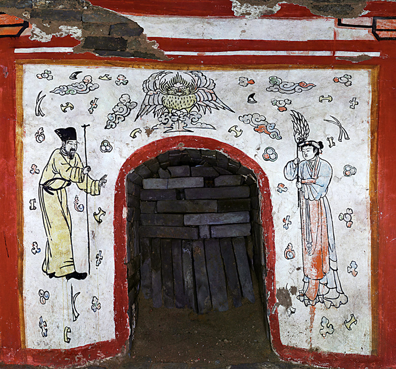 A mural painted at the tomb's entrance, featuring an old man and a woman who are probably gods, and a garuda (mythical bird) on some