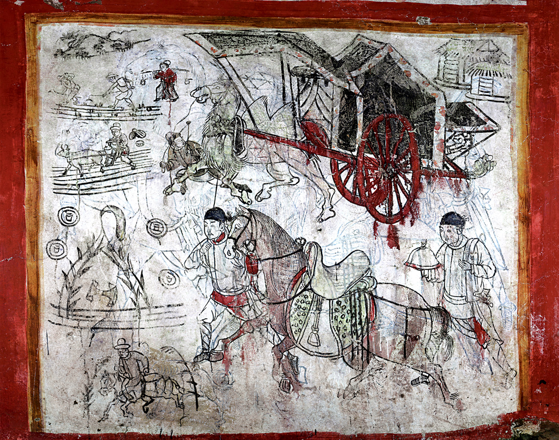 This mural depicts farmers and labourers at work in the fields, as well as cattle and a carriage. Unfinished sketches that were rubbed out are still visible on the wall