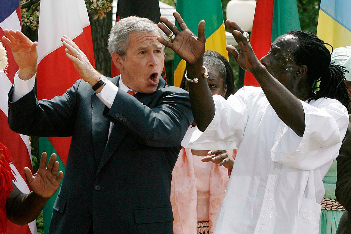 george w bush dancing malaria