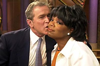 george w bush oprah kiss
