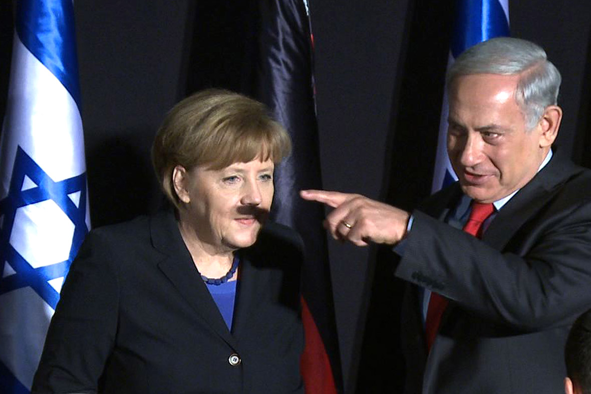 netanyahu merkel hitler moustache
