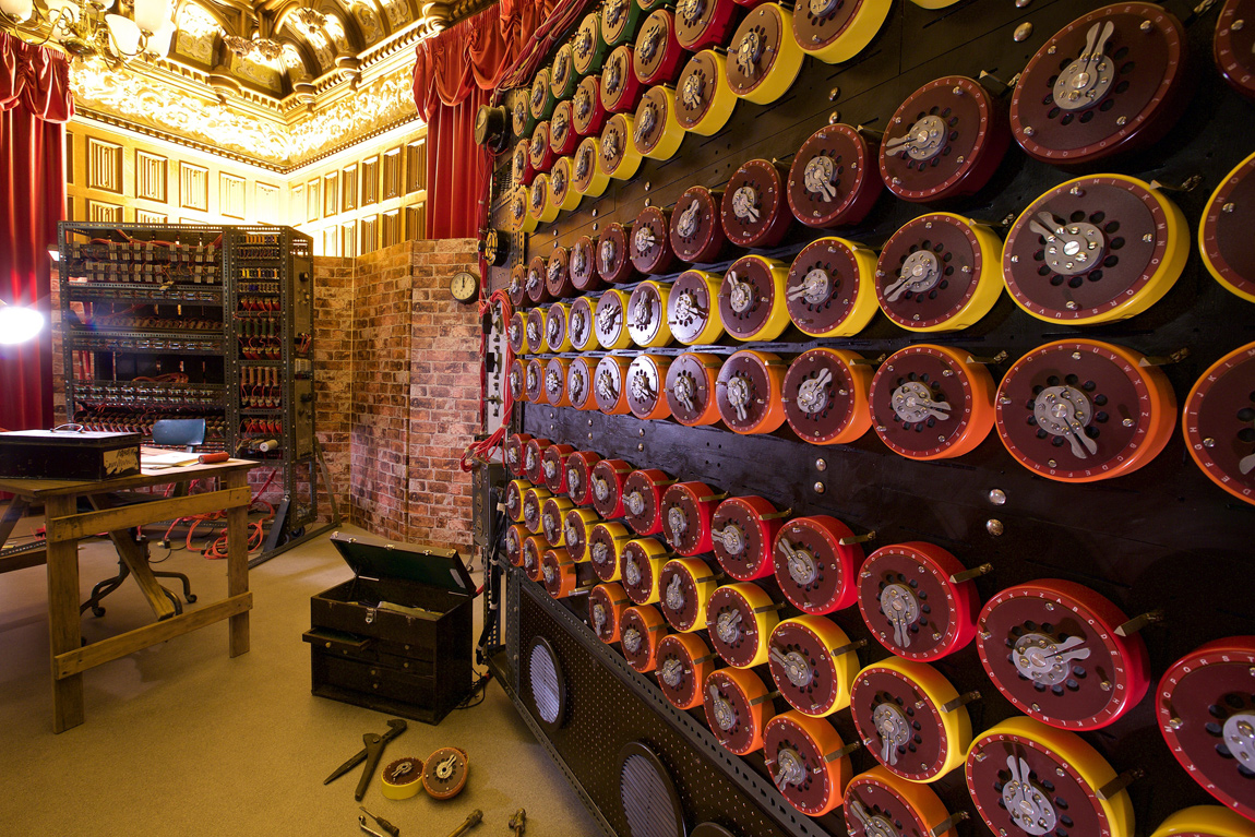 A Turing Bombe Machine, restored to its former glory with all the cogs for the film