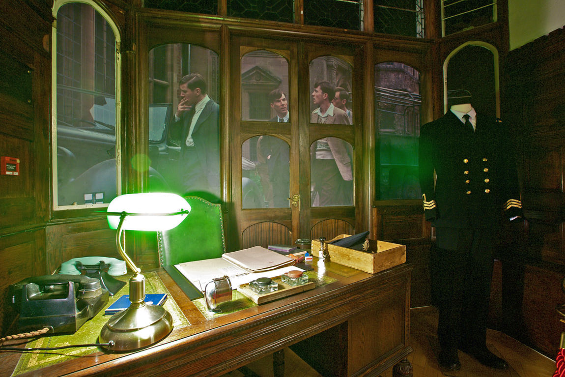 A recreation of Commander Alastair Denniston's office in the mansion and his military uniform