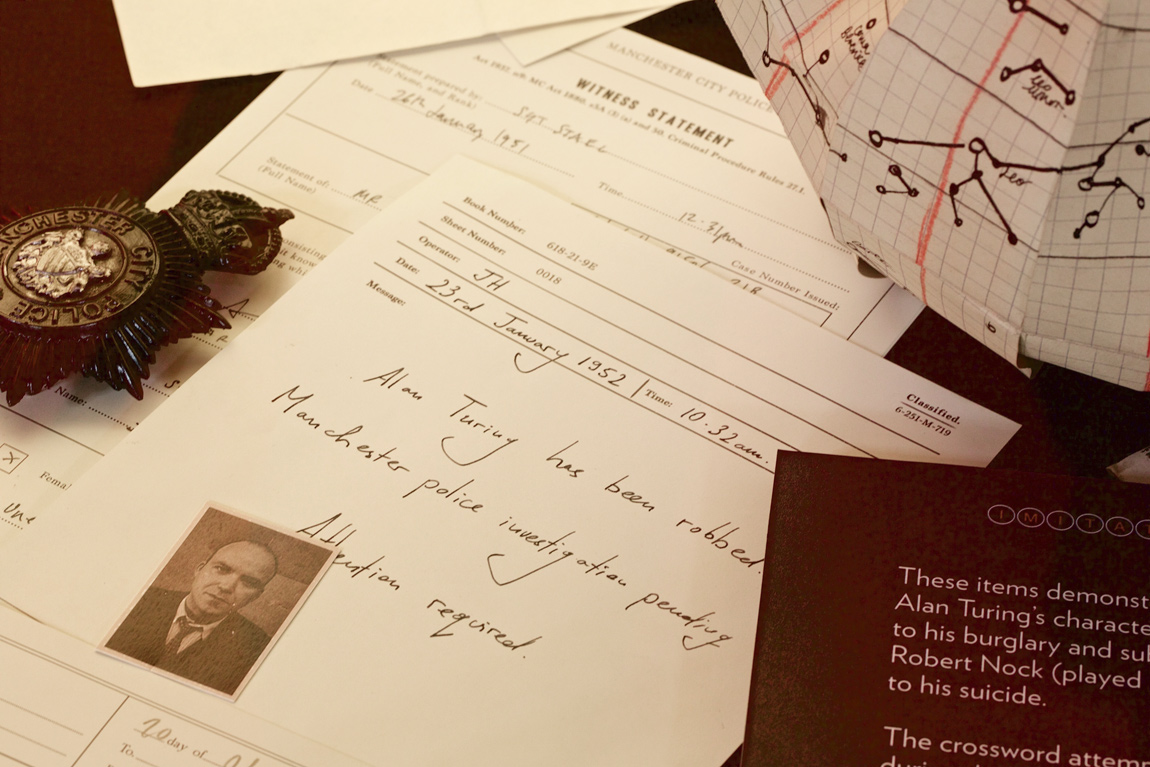 Recreations of documents from the Manchester City Police detailing the robbery on Turing's home in 1952