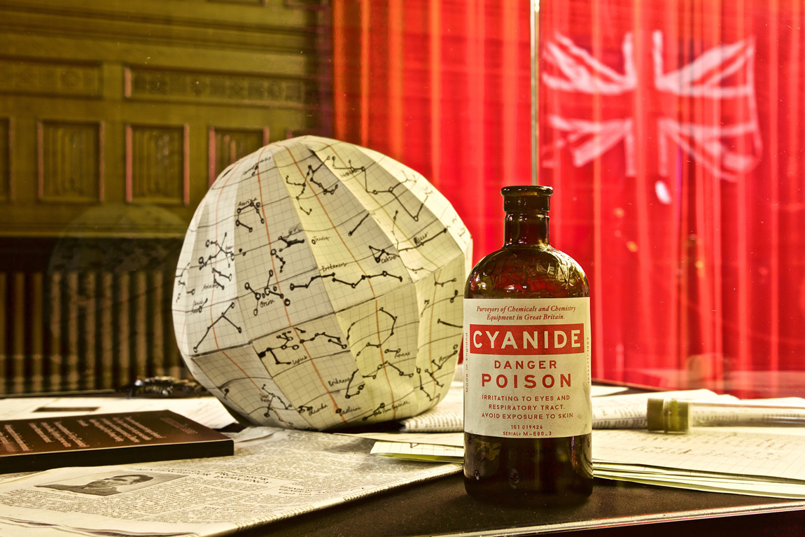 A replica of a bottle of cyanide, similar to one that was in Turing's home chemistry kit