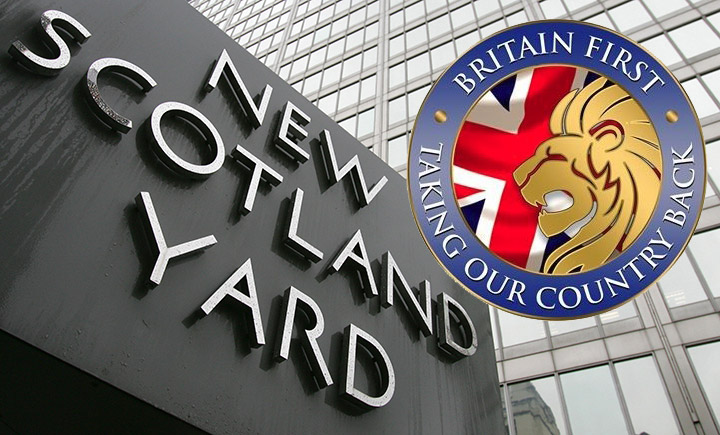 Britain First under investigation by police over using a Royal crest in its logo (pictured)