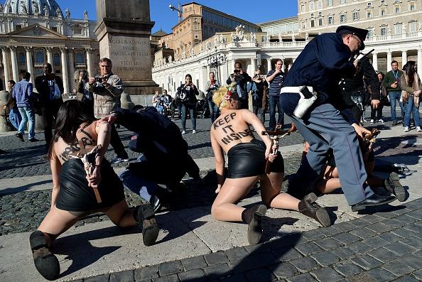 Femen protestors outside the Vatican