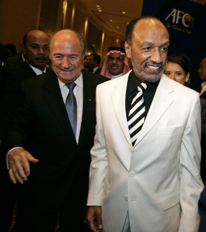 Fifa president Sepp Blatter with Qatari official Mohammed Bin Hammam (Getty)