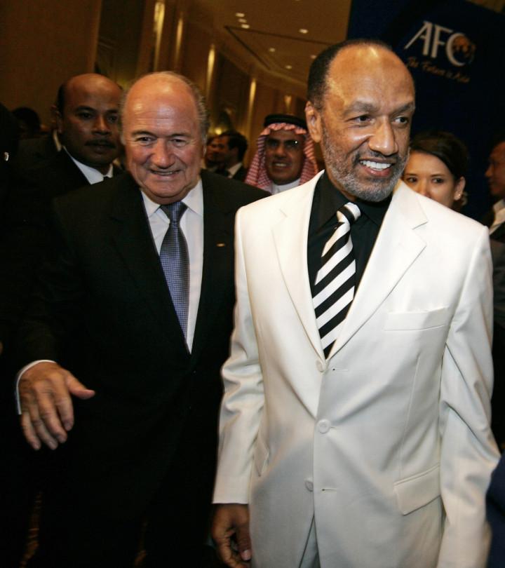 Fifa president Sepp Blatter with Qatari official Mohammed Bin Hammam (Getty)