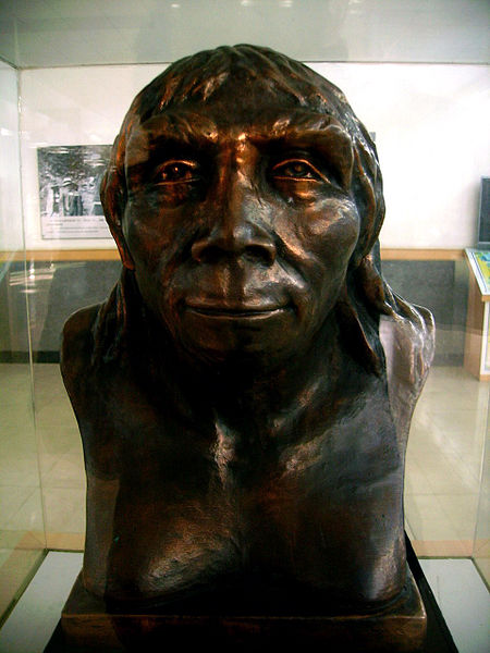 Bust of Peking Man on display at Zhoukoudian, China