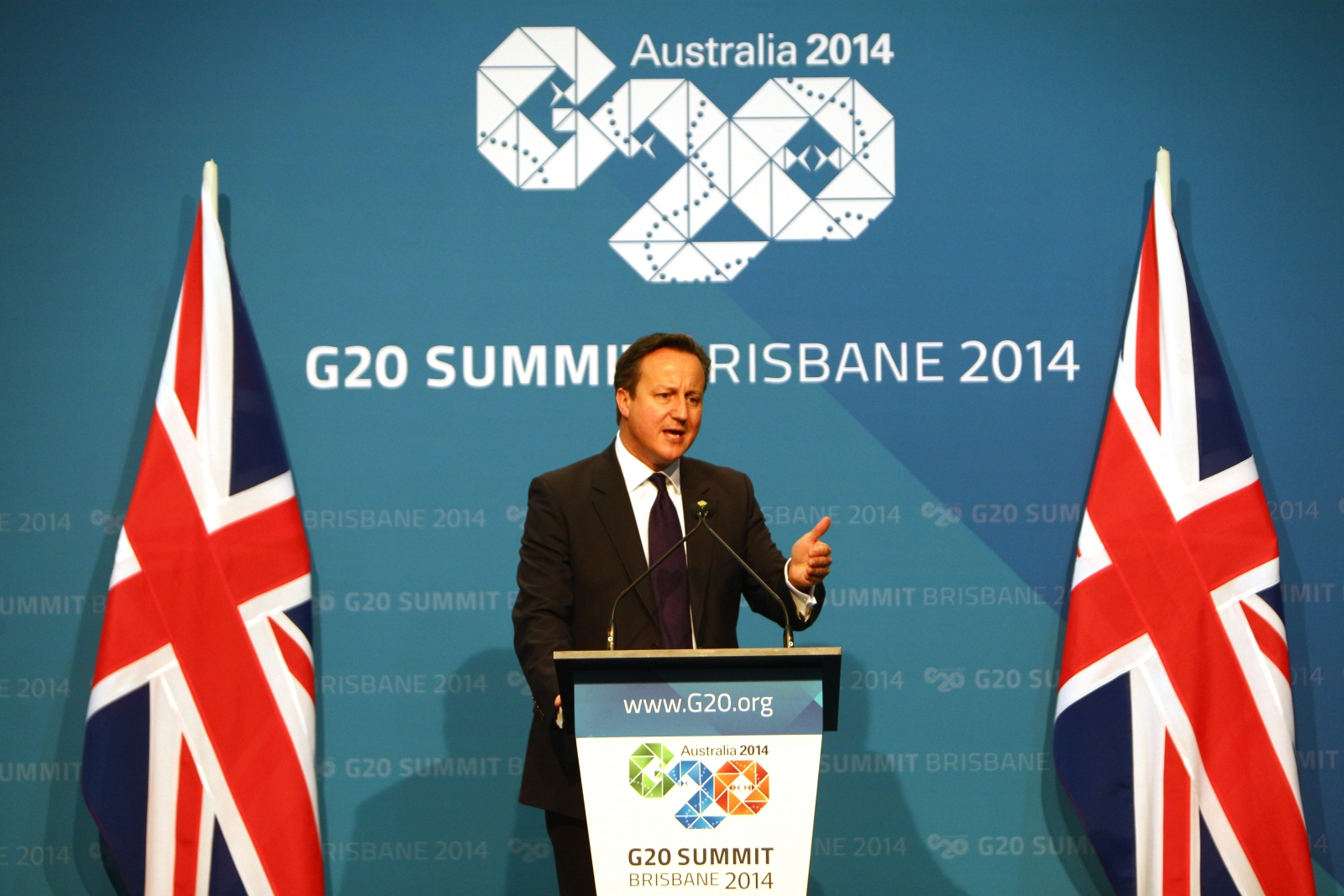 David Cameron speaks at the G20 summit in Brisbane, Australia. (Getty)