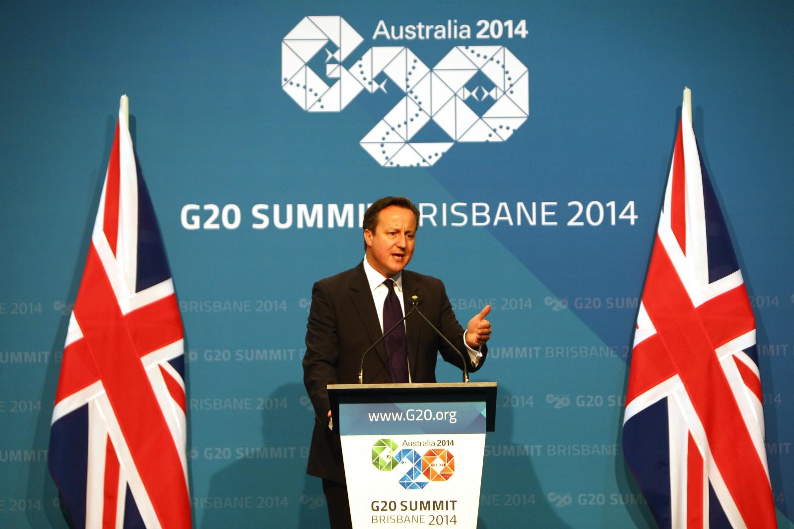 David Cameron speaks at the G20 summit in Brisbane, Australia. (Getty)