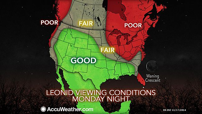 leonid meteor shower map USA