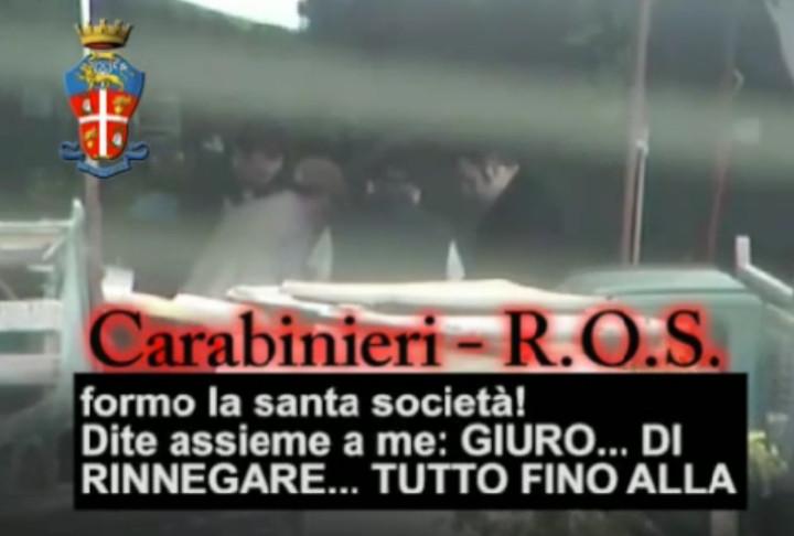 Italian Mafia Oath Ritual Santa Bestowal initiation video Ndrangheta