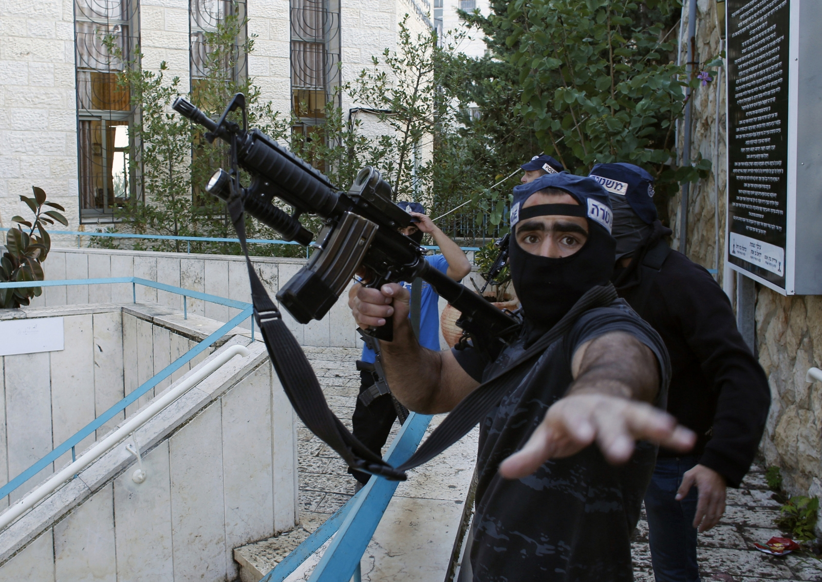 An Israeli police officer near the scene of an attack at a Jerusalem synagogue