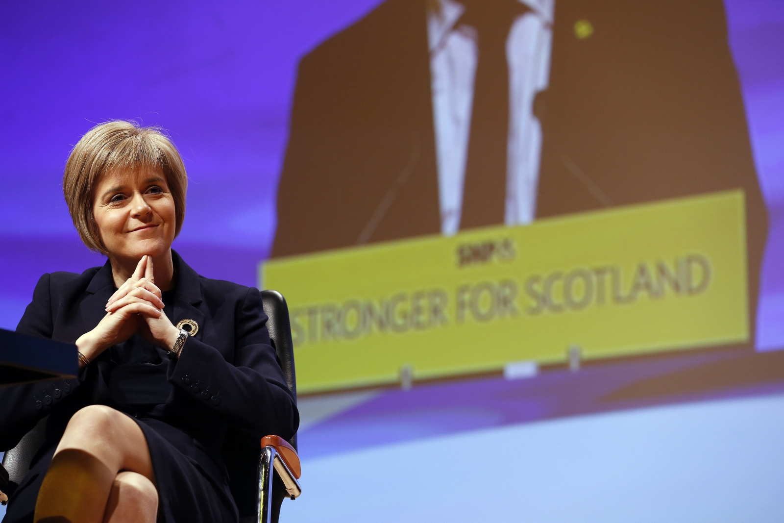 Newly elected party leader Nicola Sturgeon smiles at the Scottish Nationalist Party (SNP) annual conference in Perth November 15, 2014.