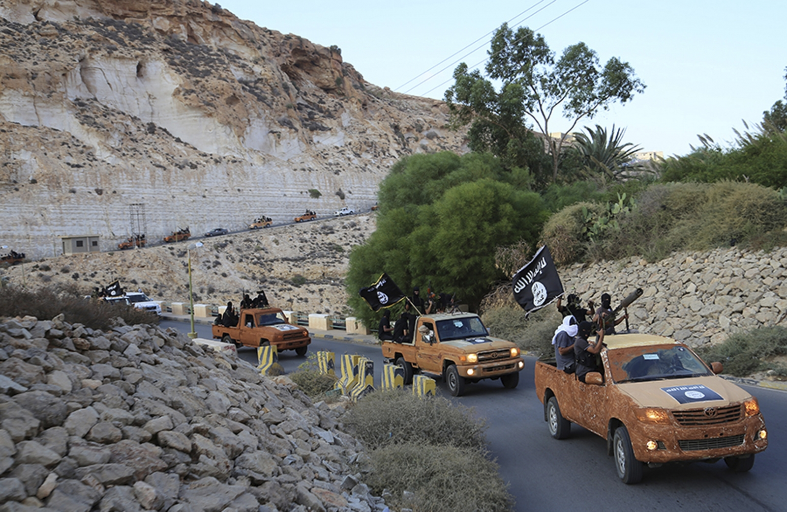 Militants from Derna, photographed shortly after pledging allegiance to Isis. (Reuters)