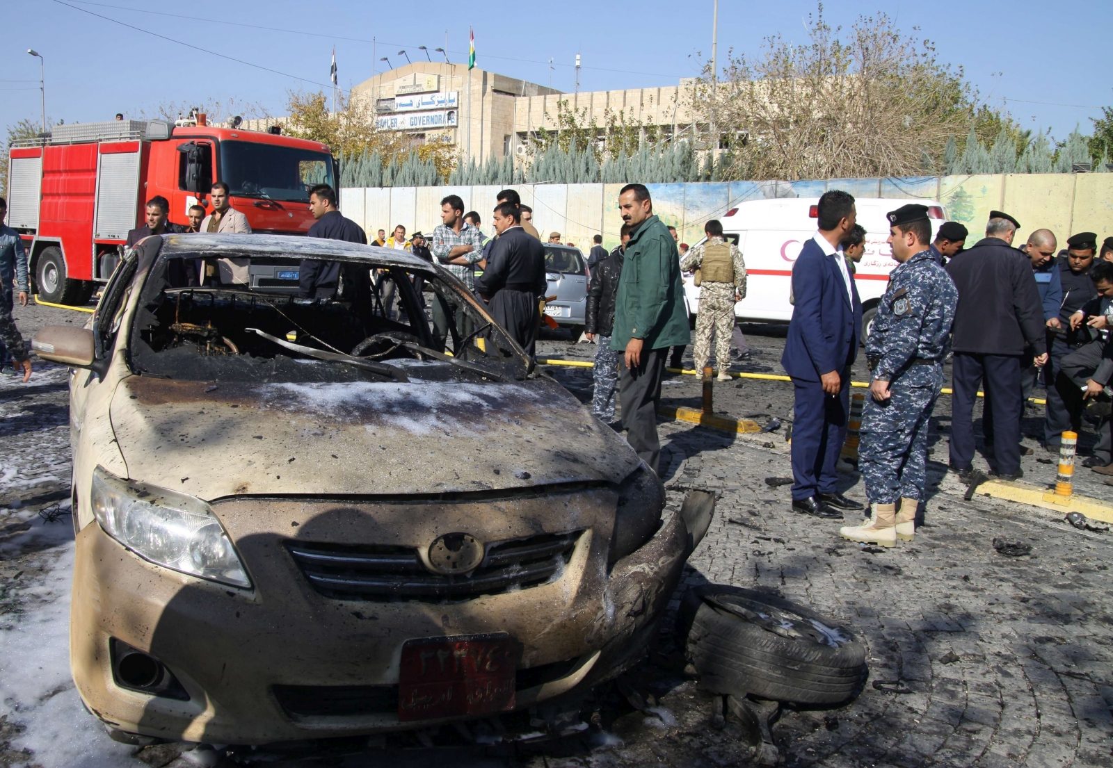 The aftermath of this morning\'s attack outside the governorate office in Erbil, in Kurdish Iraq. (Getty)
