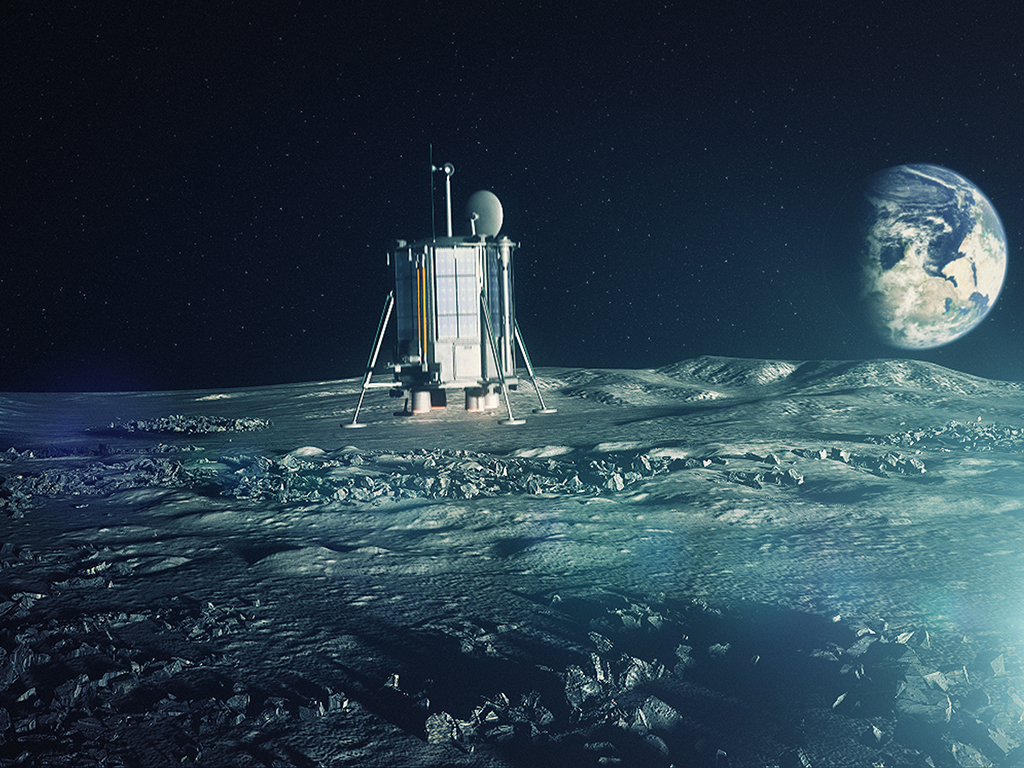 A 3D animation of how Lunar Mission One will look when it lands on the moon