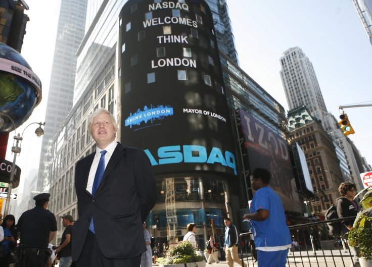London Mayor Boris Johnson poses in New York's Times Square after ringing the opening bell at the NASDAQ Market September 14, 2009