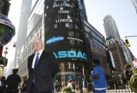 London Mayor Boris Johnson poses in New York\'s Times Square after ringing the opening bell at the NASDAQ Market September 14, 2009