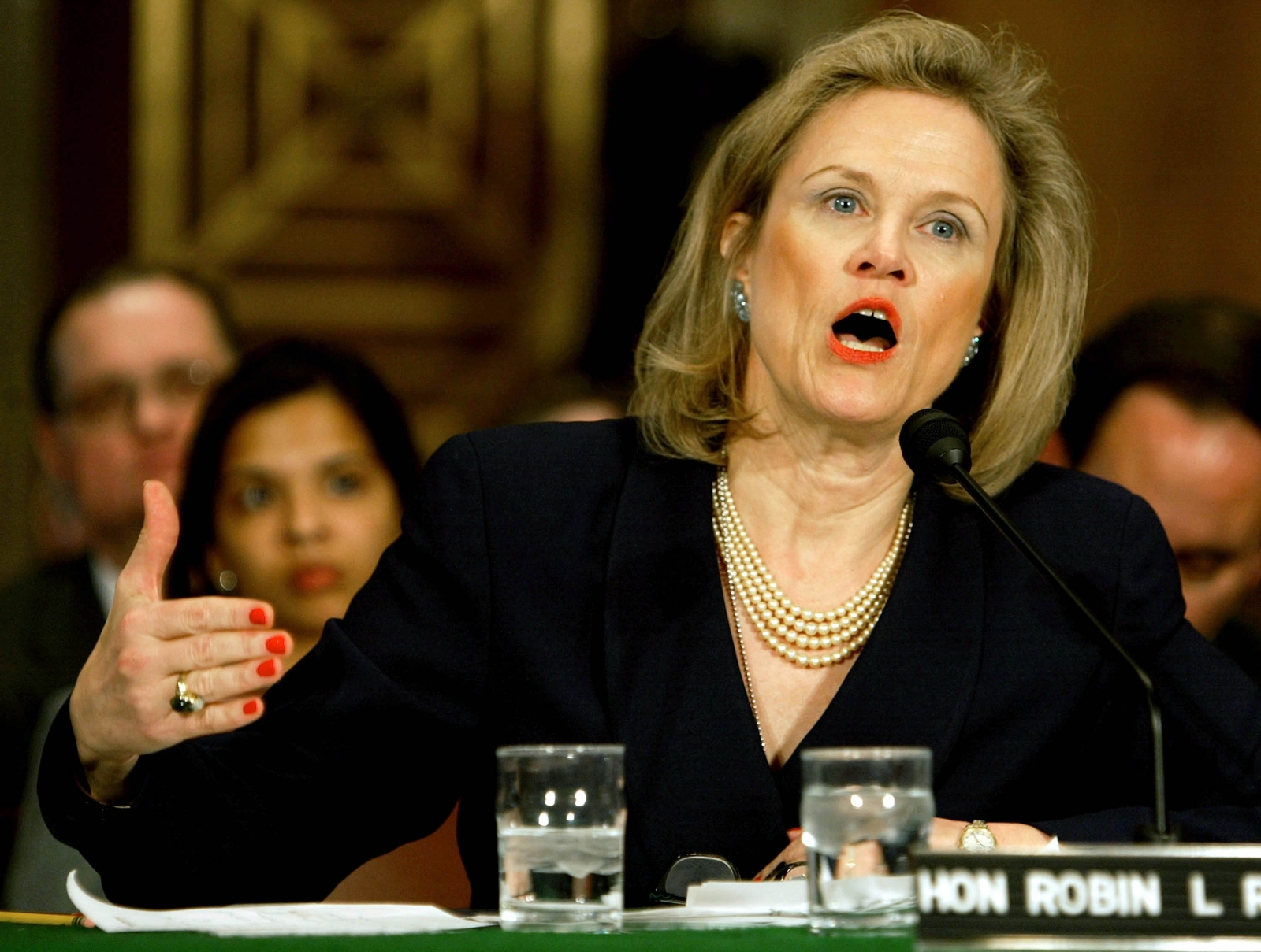 Robin L Raphel, pictured in 2004 at a Senate Foreign Relations Committee meeting. (Getty)
