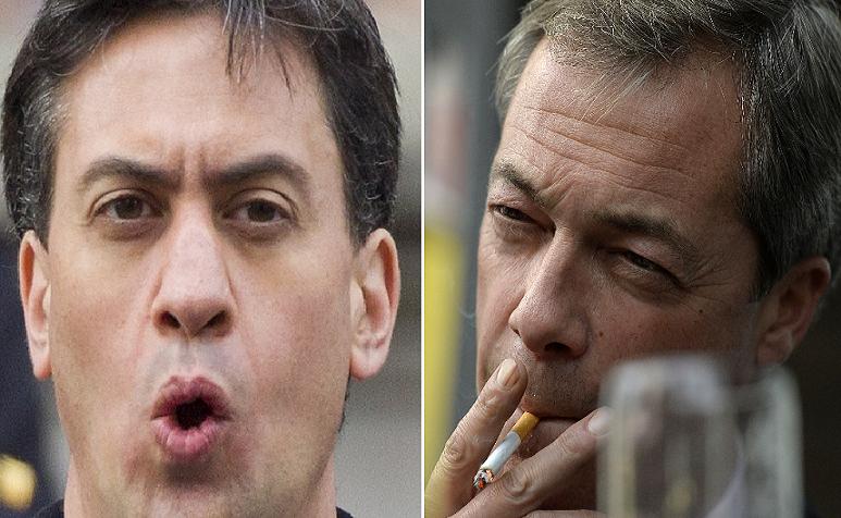 Labour under Ed Miliband (left) is 'anti-English,' according to Ukip leader Nigel Farage