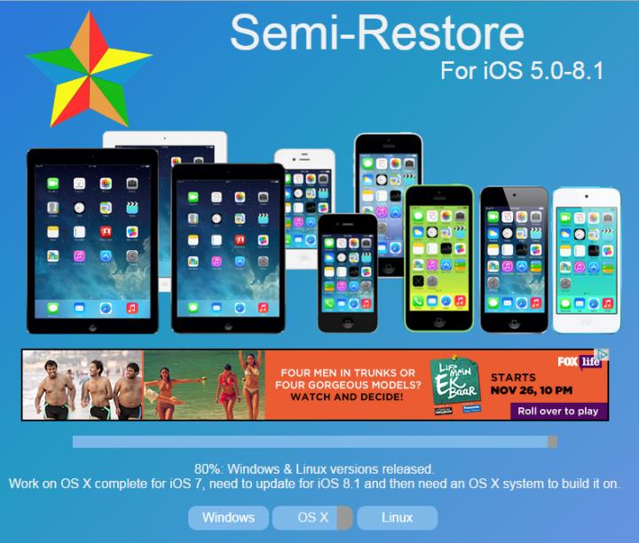 SemiRestore for iOS 8/iOS 8.1 Released: Easily Restore Jailbroken iPhone or iPad Without Losing Jailbreak