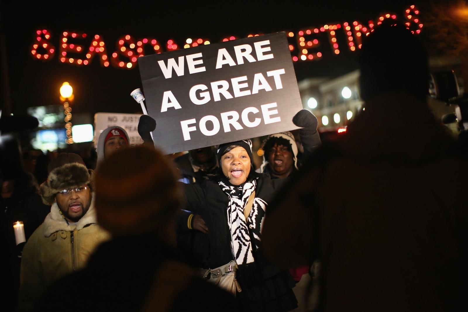 Protesters gather in Ferguson ahead of the Darren Wilson verdict (Getty)