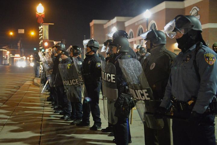 Police in Ferguson, Missouri, ahead of the darren Wilson Grand Jury decision. (Getty)