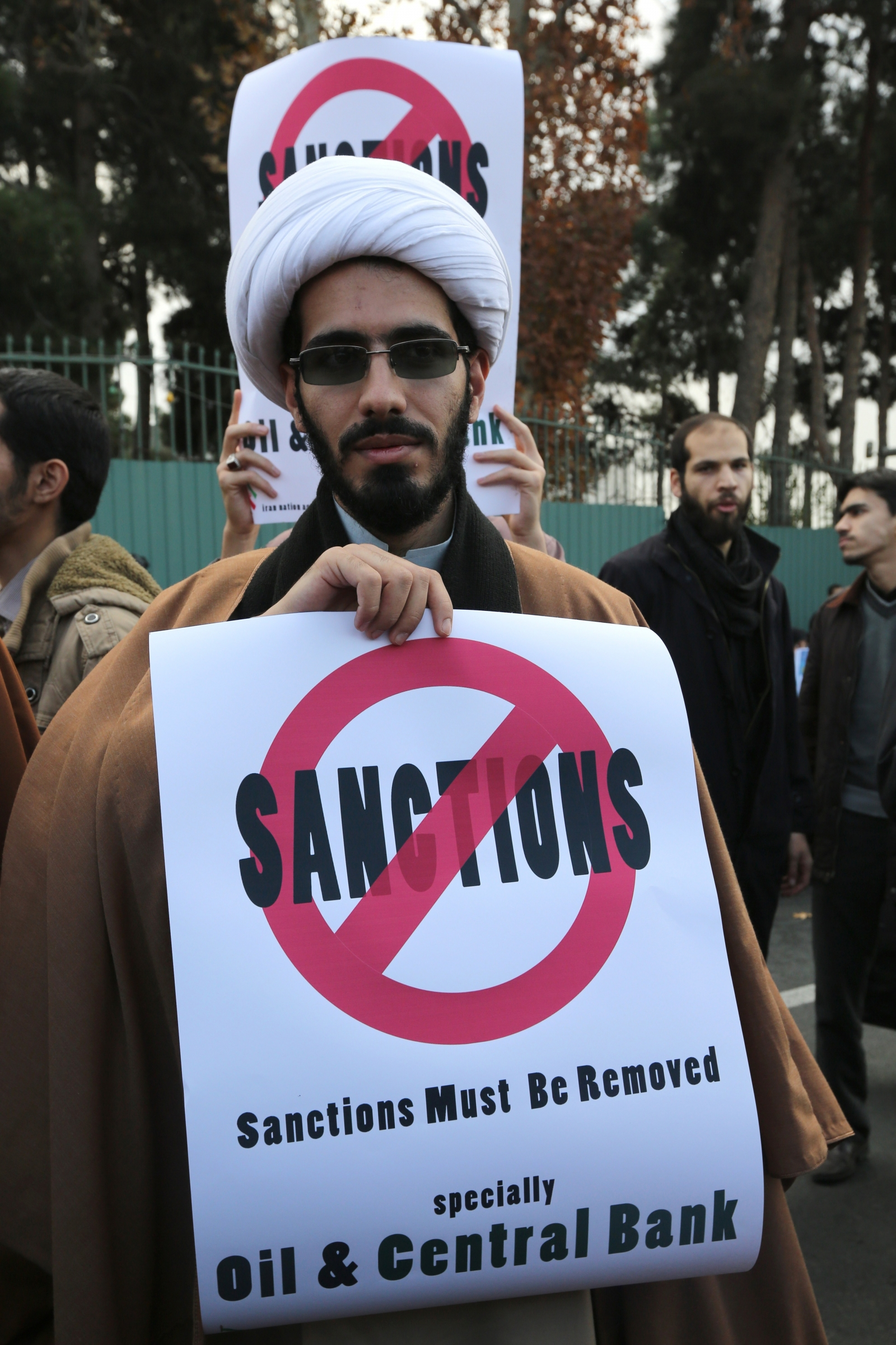 A protester in Tehran today. (Getty)