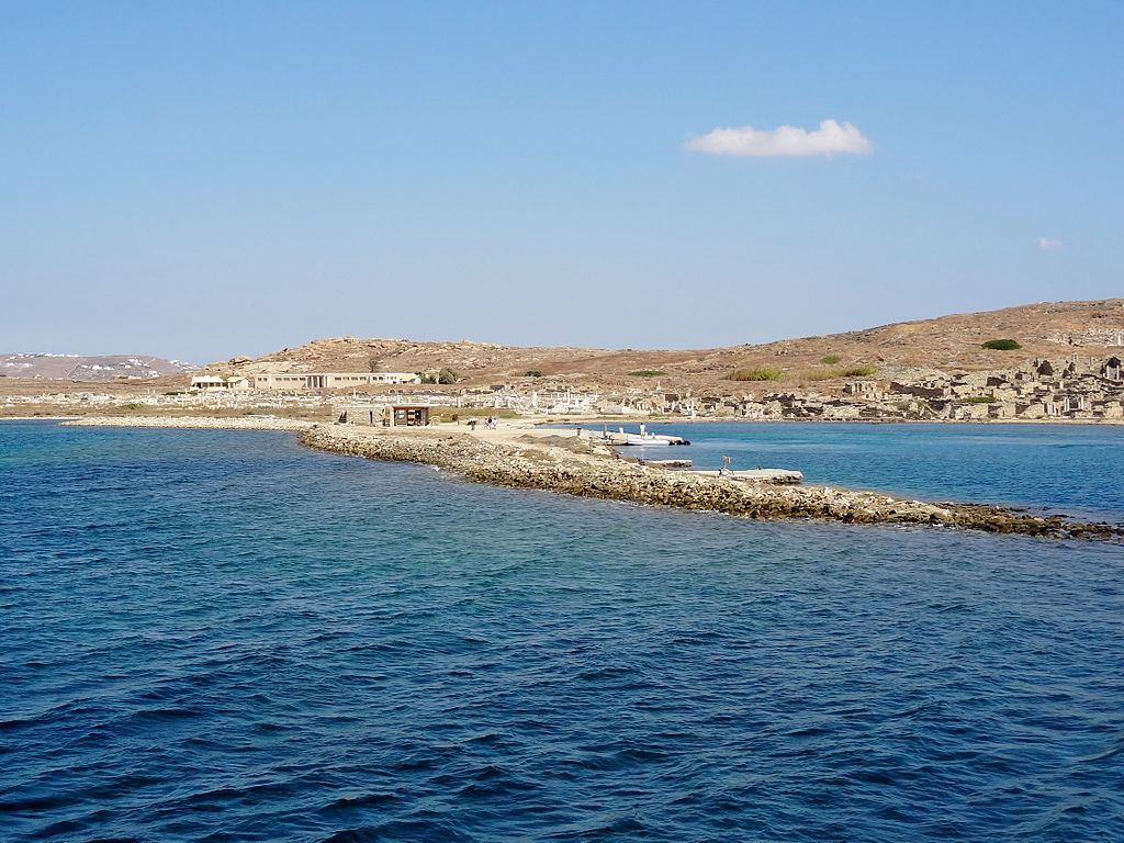 The Greek island of Delos, with numerous ruins still visible. The island is inhabited by only 14 people, according to a 2001 census.