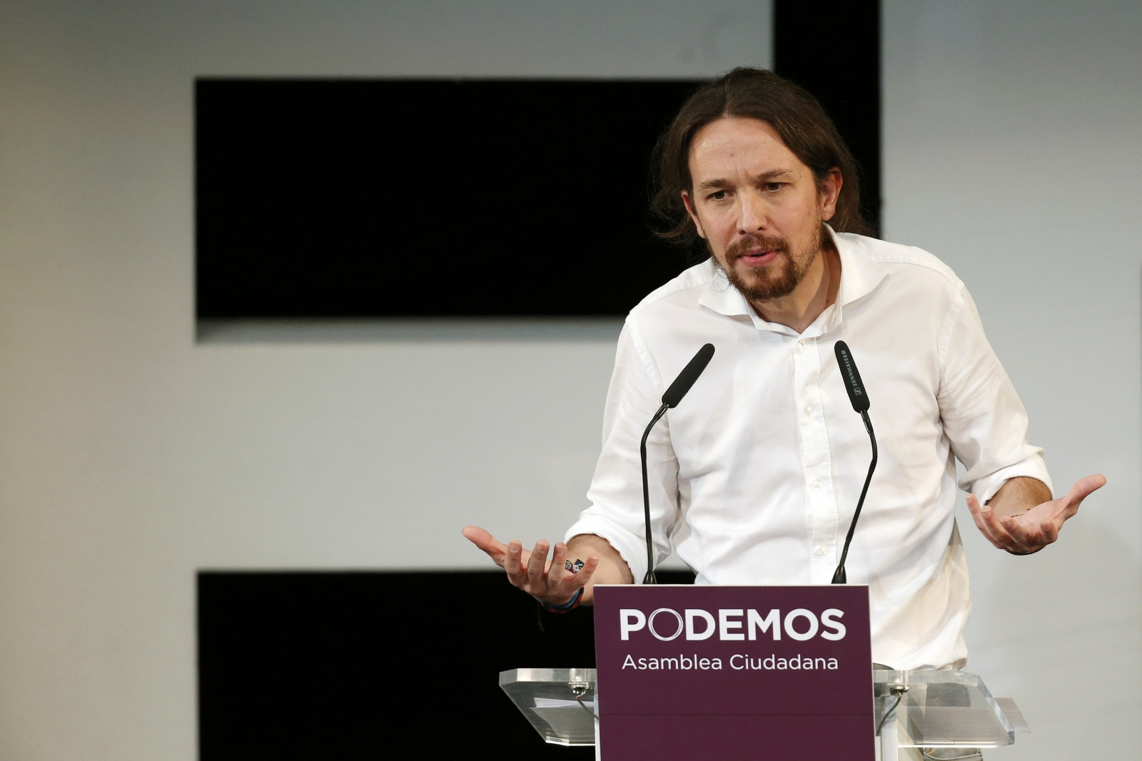Podemos ('We can') Secretary General Pablo Iglesias speaks during a meeting in central Madrid November 15, 2014