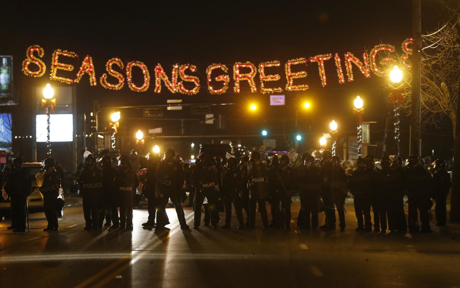 Ferguson Protestors Gather Following Grand Jury Decision Not to Indict Darren Wilson